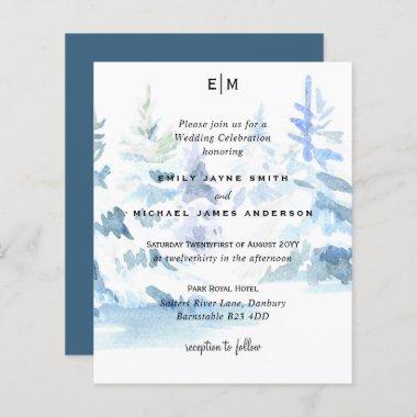 Budget Snowy Mountain Trees Skiing Wedding Invites
