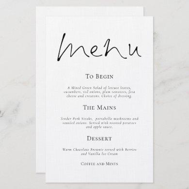 Budget Stylish Typography Simple Wedding Menu