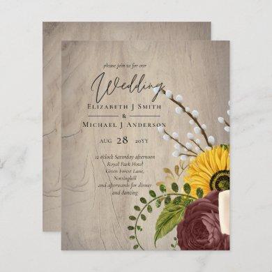 BUDGET Sunflowers Burgundy Marsala Wedding Invite