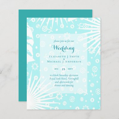 BUDGET Teal Blue Shades Wedding Invite
