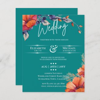 BUDGET Teal Orange Floral Wedding Invite
