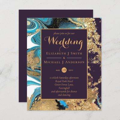 BUDGET Teal Purple Gold Agate Wedding Invite