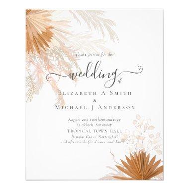 BUDGET  Terracotta Pampas Grass Tropical Wedding Flyer