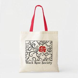 Budget Tote Bag, Black Rose Society   Heartblaze