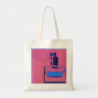 Budget Tote bag with pink perfume bottle design