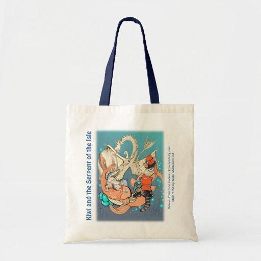 Budget tote - cats riding fish (Kiwi Series) Budget Tote Bag