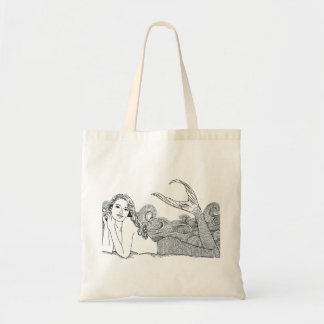 Budget Tote Curly Wave Mermaid wht. Budget Tote Bag