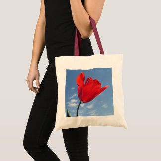 Budget Tote - Red Tulip Blue Sky