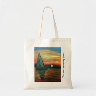 Budget tote with brightly colored sailboat theme