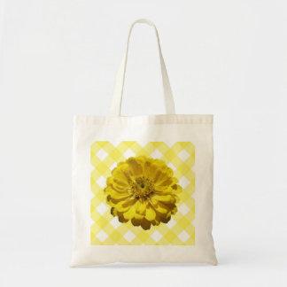 Budget Tote - Yellow Zinnia on Lattice Budget Tote Bag