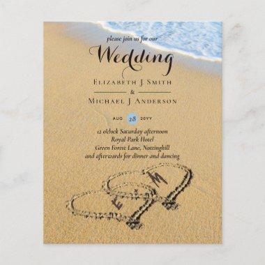 Budget Tropical Beach Hearts in Sand Wedding Invit