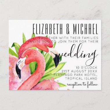 Budget Tropical Flamingos Wedding Invitations