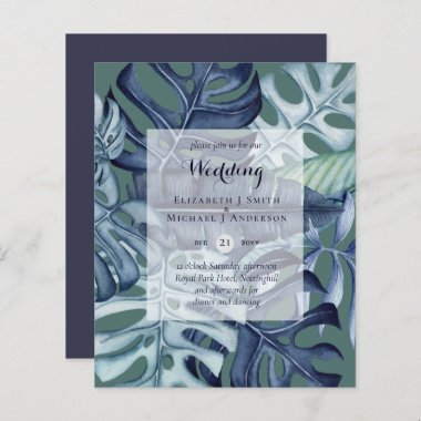 BUDGET Tropical Leaf Blue Teal Wedding Invite