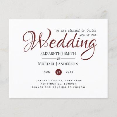 Budget TYPOGRAHY Wedding Invites - Burgundy Red