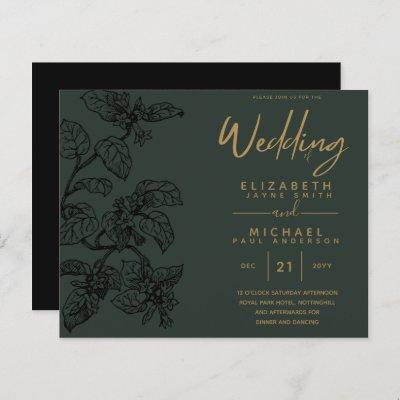 BUDGET Vintage Garden Leaf Classic Wedding Invites
