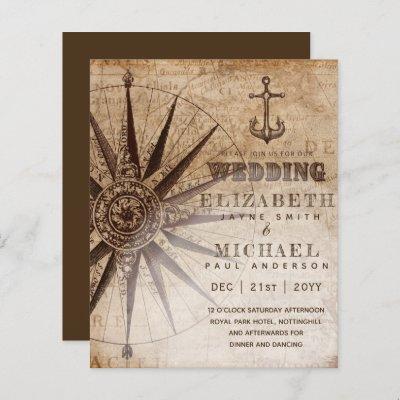 BUDGET Vintage Nautical Map Wedding Invite