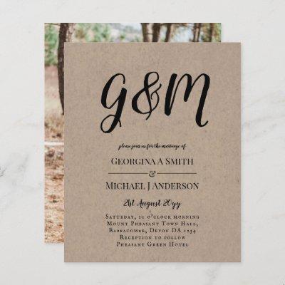 Budget Vintage Typography photo Wedding INVITE