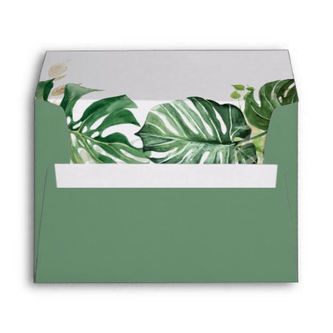Budget Watercolor Tropical Palm Leaves Wedding A7 Envelope