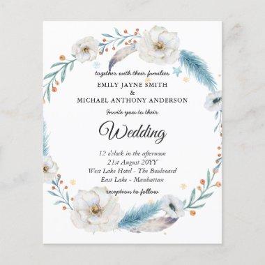 Budget Wedding Invitation Winter Blue Floral
