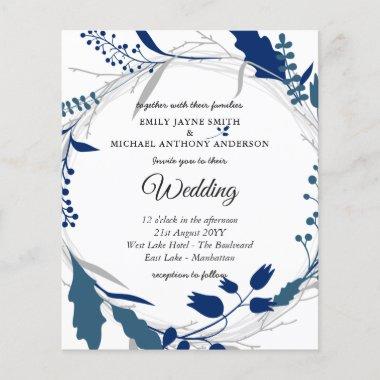 Budget Wedding Invitation Winter Blue White