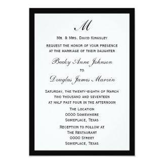 Budget Wedding Pick Border Color on White 5x7 Paper Invitation Card