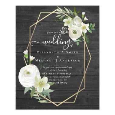BUDGET White Rose Greenery Gold Wedding Flyer