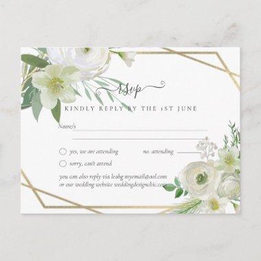 BUDGET White Rose Greenery Gold Wedding Postcard