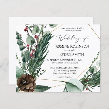 Budget Winter Berries & Pine Greenery Wedding 2
