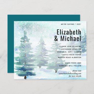 Budget Winter Watercolor Teal Wedding Invite