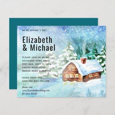 Budget Winter Woodland Cabin Wedding Invite