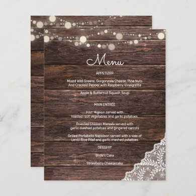Budget Wood, Lace, String Lights Menu