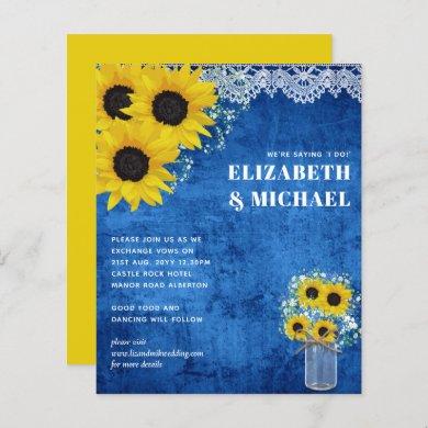 BUDGET Yellow Blue Sunflowers Wedding Invite