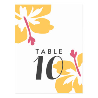 Budget Yellow Hibiscus Wedding Table Number Cards