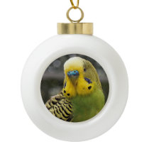 Budgie Bird Ceramic Ball Christmas Ornament