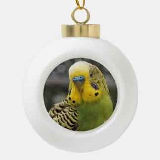 Budgie Bird Ceramic Ball Christmas Ornament