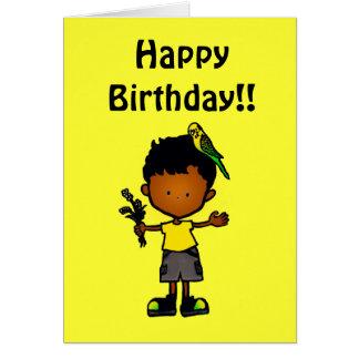 Budgie Boy Birthday Card 2 (C114g4)