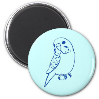 Budgie Drawing 2 Inch Round Magnet