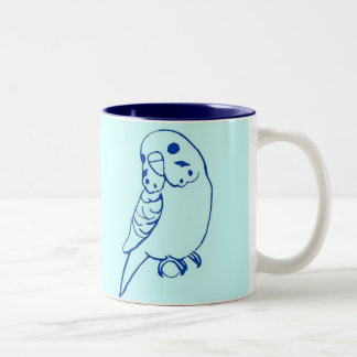 Budgie Drawing Two-Tone Coffee Mug