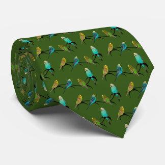 Budgie Frenzy Tie Double Sided Print (Dark Green)