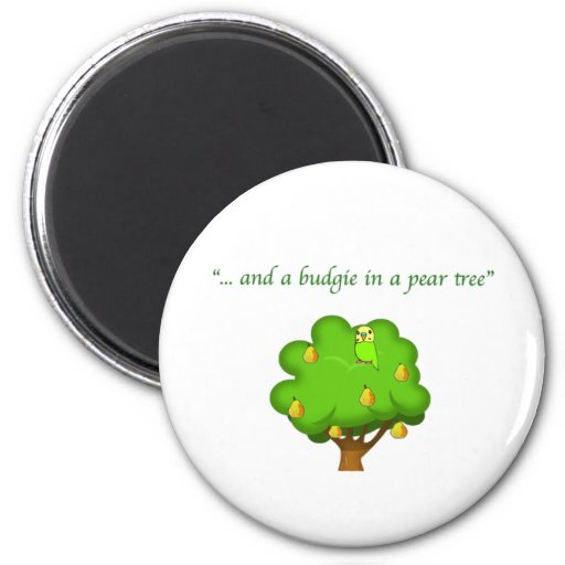Budgie in a Pear Tree 2 Inch Round Magnet
