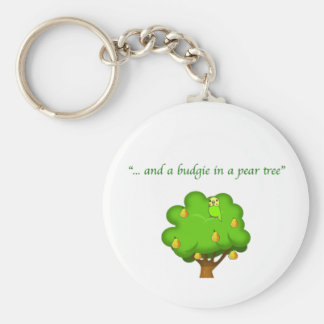 Budgie in a Pear Tree Basic Round Button Keychain