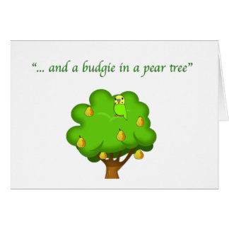 Budgie in a Pear Tree Card