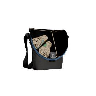 Budgie Pair Black Bag Watercolour (Customise!) Courier Bags