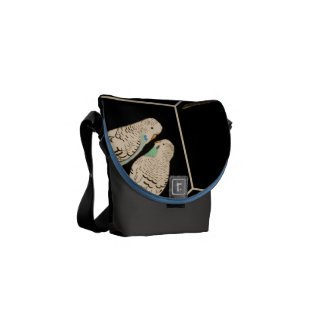 Budgie Pair Black Bag Watercolour (Customise!) Commuter Bag