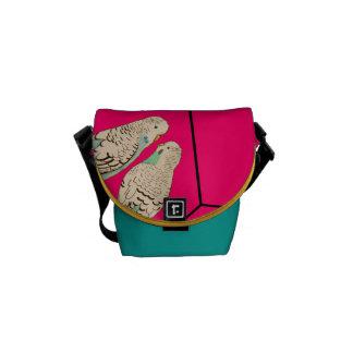 Budgie Pair Pink Blue Bag Watercolour (Customise!) Courier Bag
