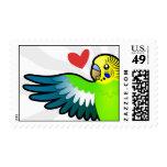 Budgie / Parakeet Love Postage Stamp