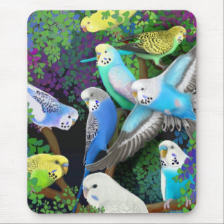 Budgie Parakeets and Ferns Mousepad