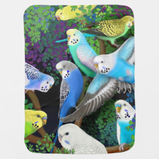 Budgie Parakeets in Ferns Baby Blanket