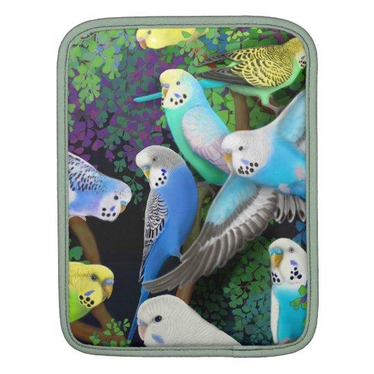 Budgie Parakeets in Ferns iPad Rickshaw Sleeve
