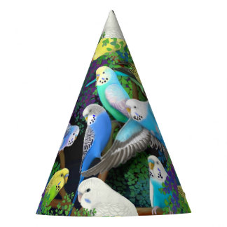 Budgie Parakeets in Ferns Party Hat